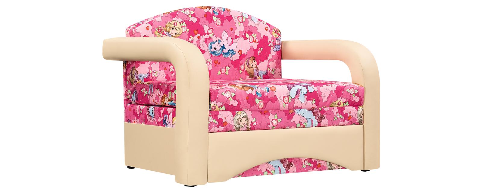 Кресло тканевое Эдем Pony розовый (Микровелюр + Экокожа)