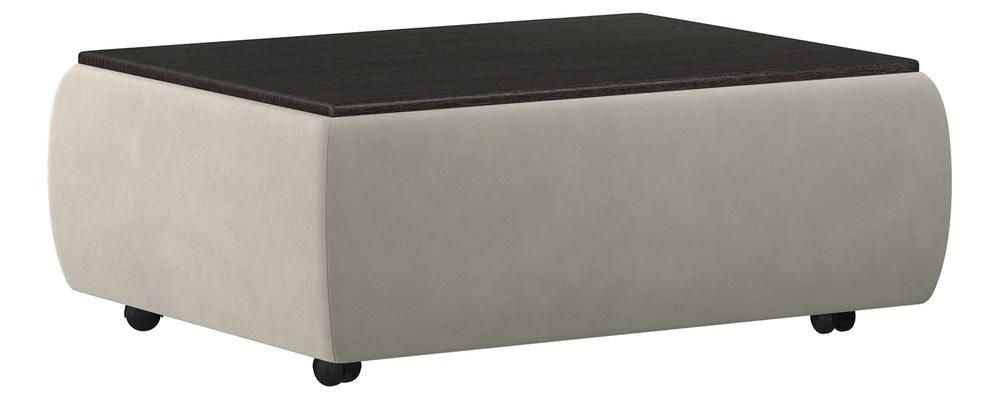 Пуф тканевый каркасный Гавана со столиком Soft светло-серо-коричневый (Велюр)