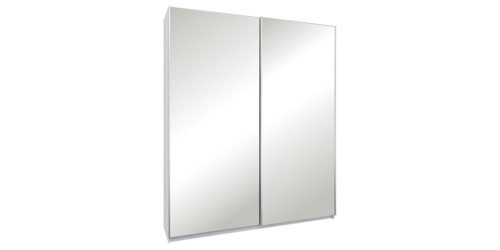 Шкаф-купе двухдверный Лофт 190 см (белый/зеркальный)