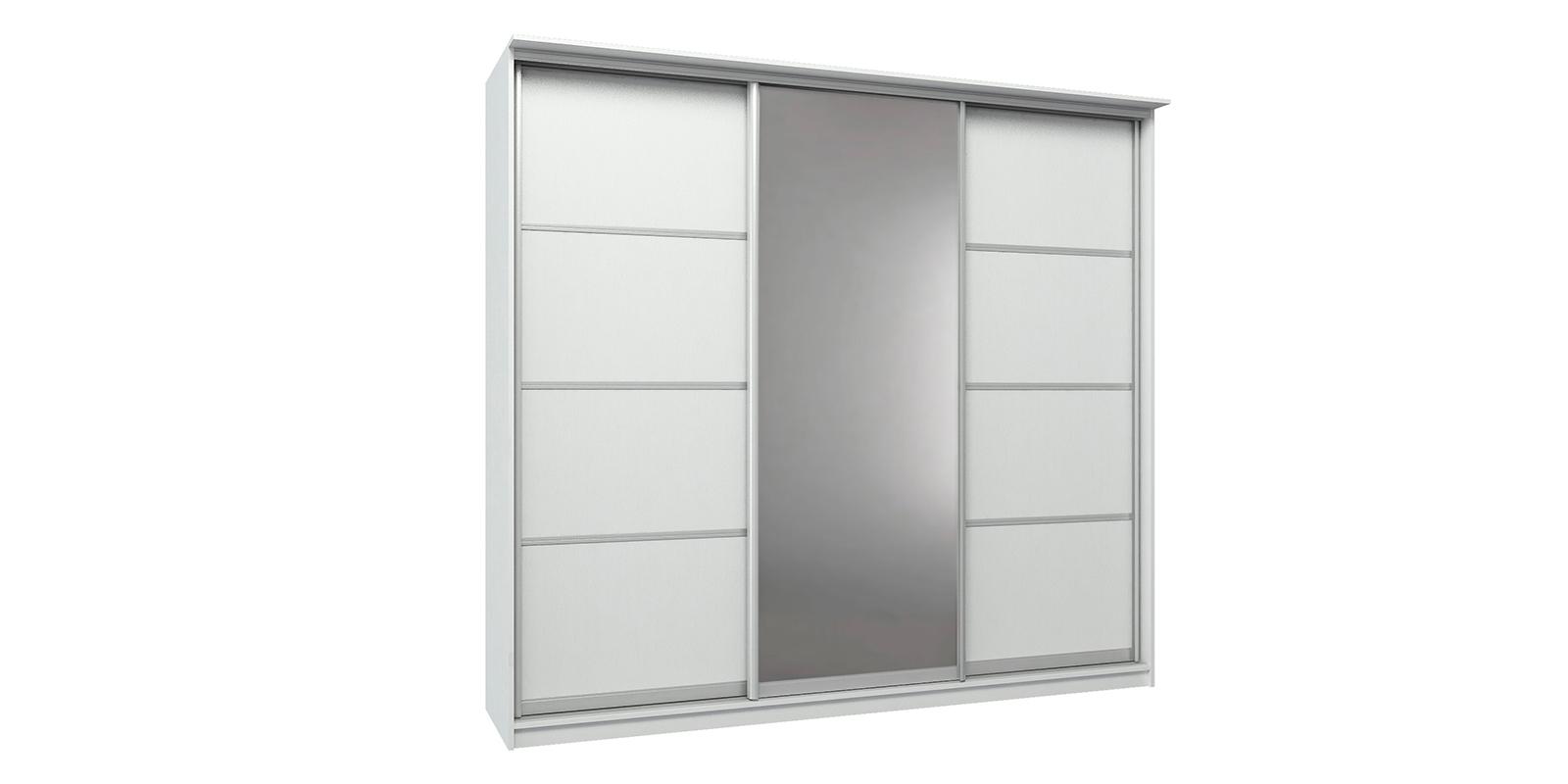 Шкаф-купе трехдверный Манчестер 260 см (белый+зеркало) Манчестер