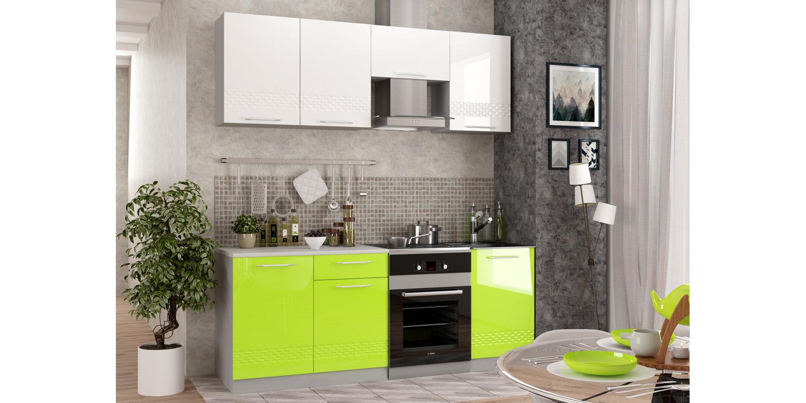 Модульная кухня Тиара вариант №1 (серый/лайм глянец)
