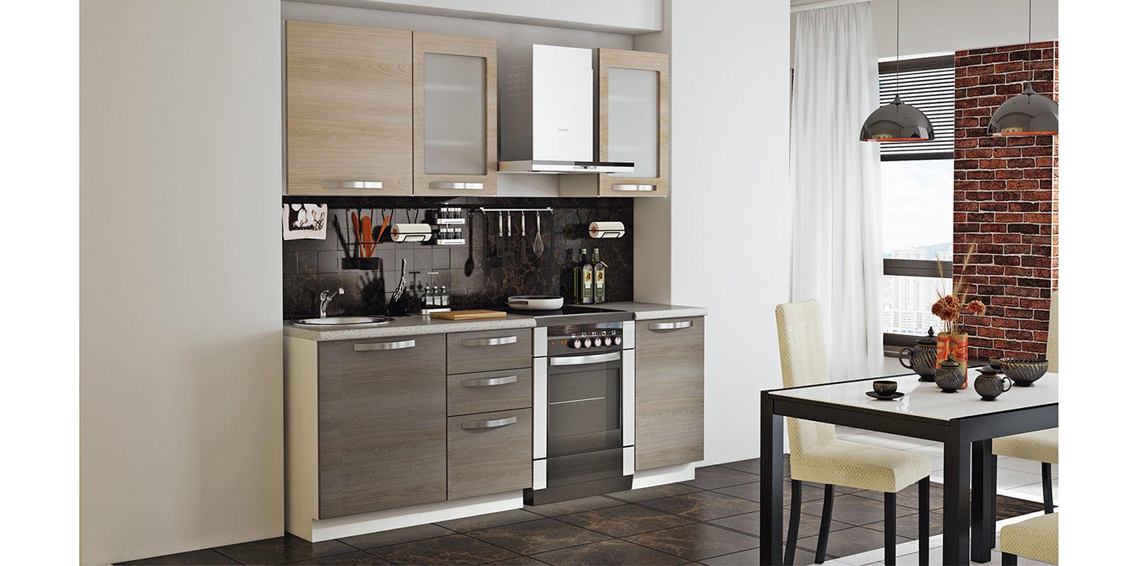 Кухонный гарнитур Миранда 210 см (белый глянец/серый)