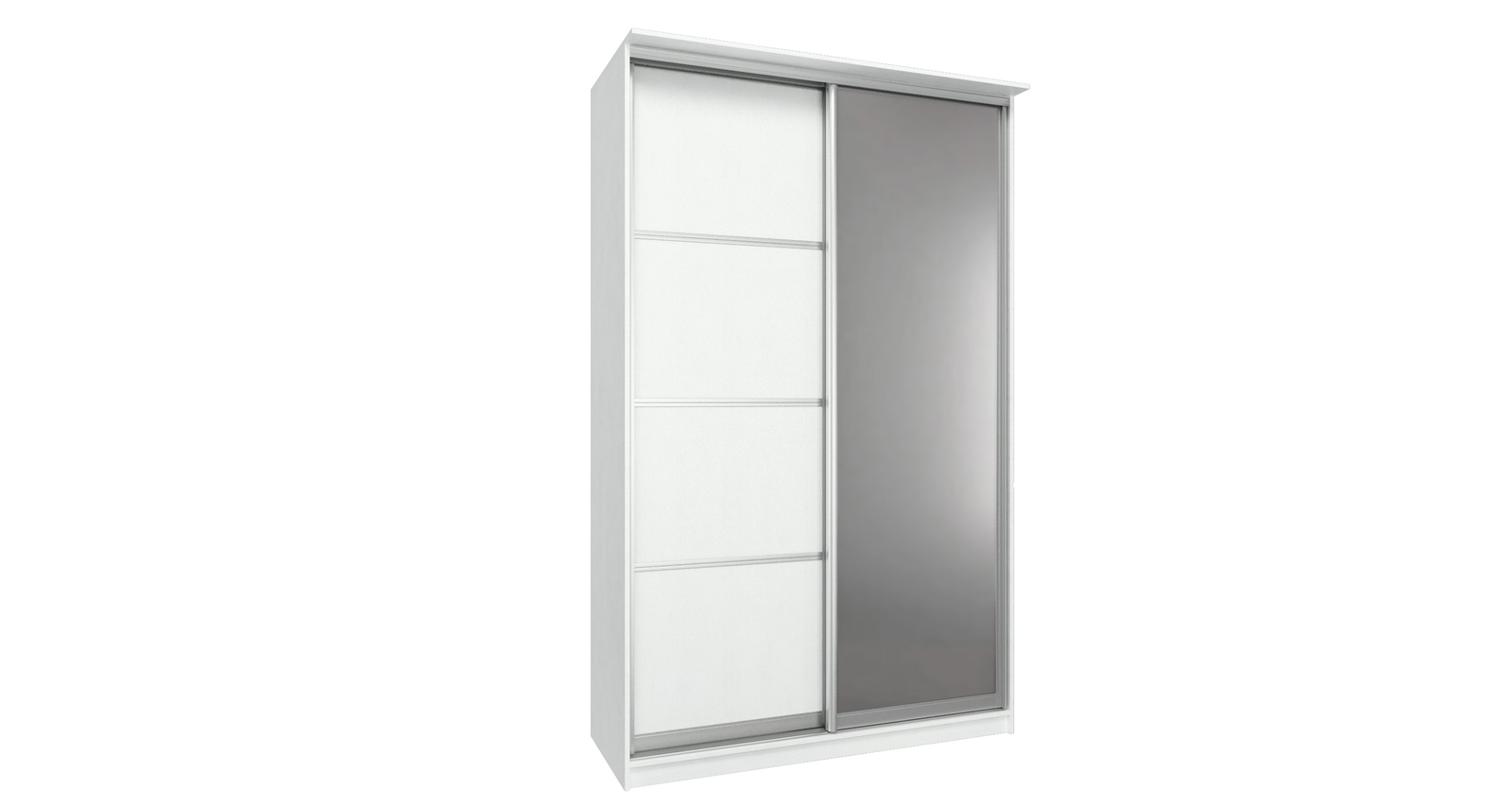 Шкаф-купе двухдверный Манчестер 150 см (белый+зеркало)