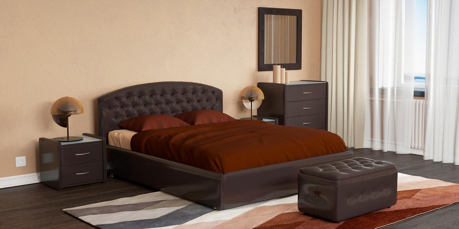 Мягкая кровать 200х160 Малибу вариант №1 с ортопедическим основанием (Шоколад) Малибу
