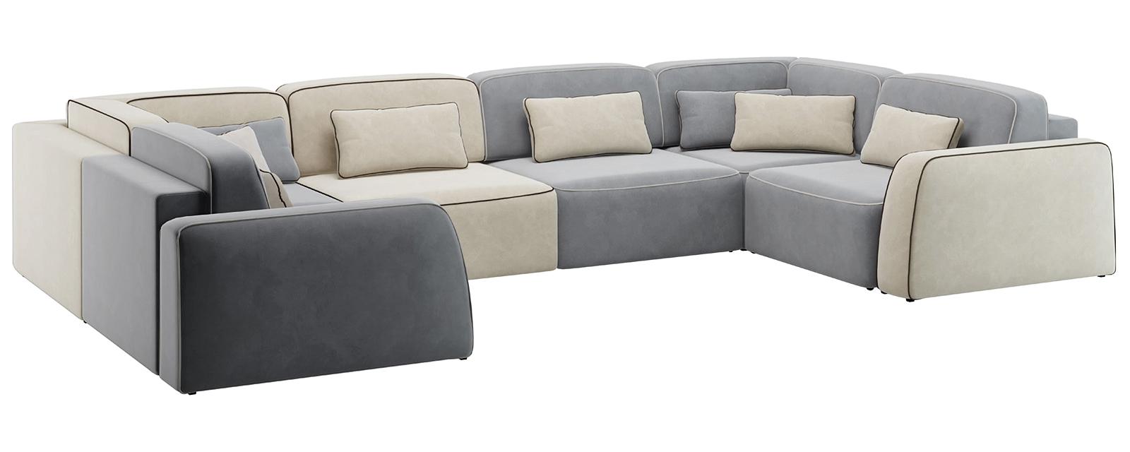 Модульный диван Портленд П-образный Вариант №3 Velutto серый/бежевый (Велюр)