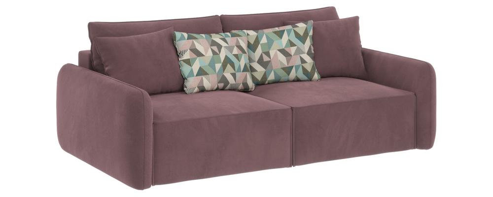Диван тканевый прямой Портленд-7 вариант №7 Evita Nougat розово-серый (Велюр)