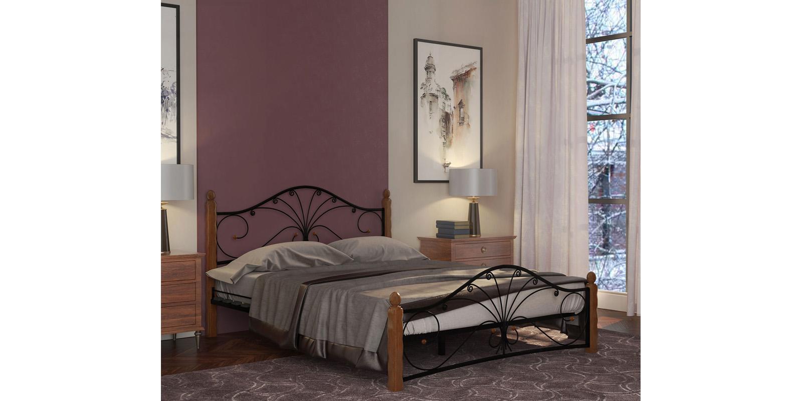 Металлическая кровать 140х200 Фортуна вариант №1 с ортопедическим основанием (черный/махагон)