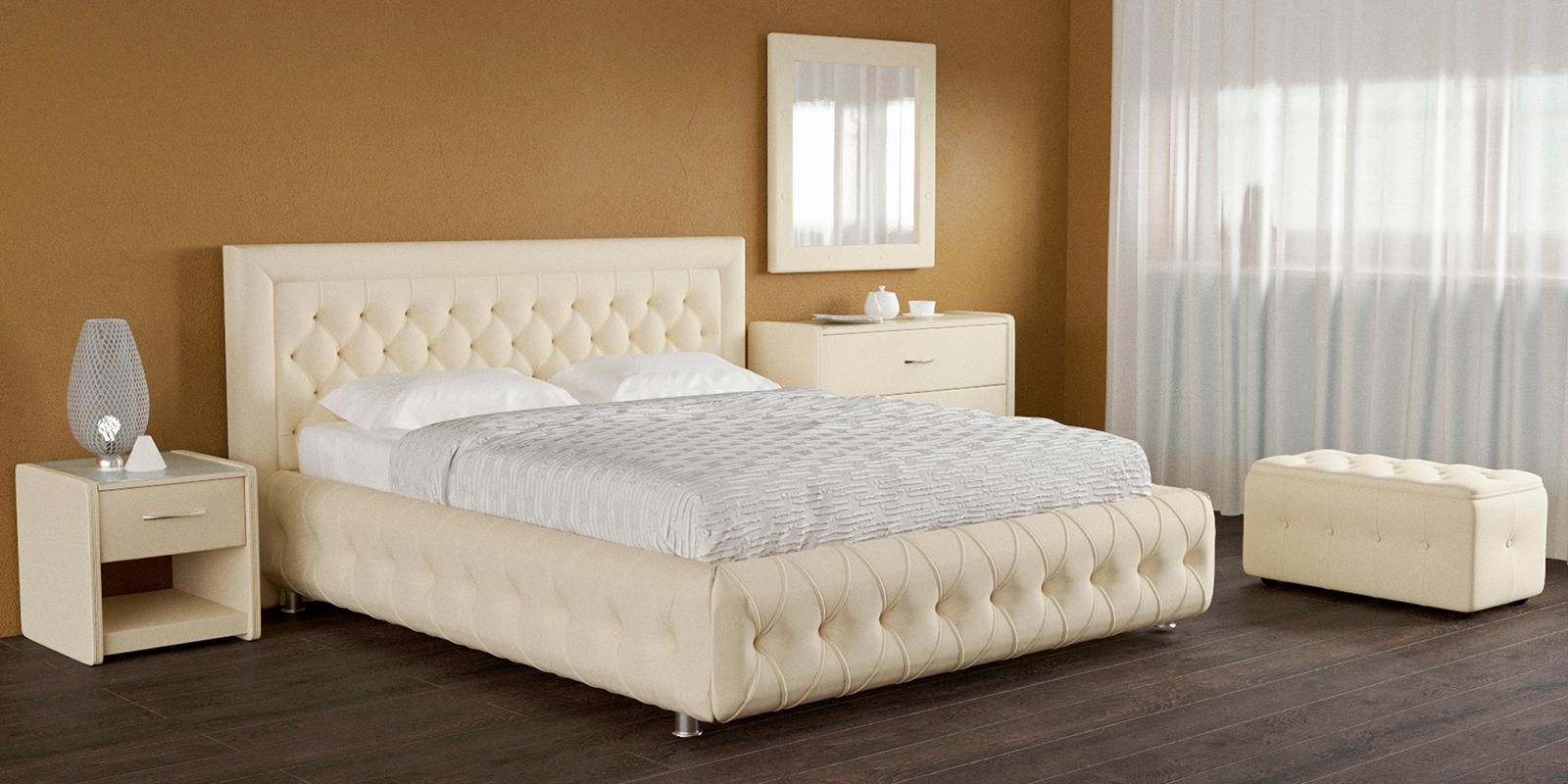 Мягкая кровать 200х160 Малибу вариант №7 с подъемным механизмом (Бежевый)