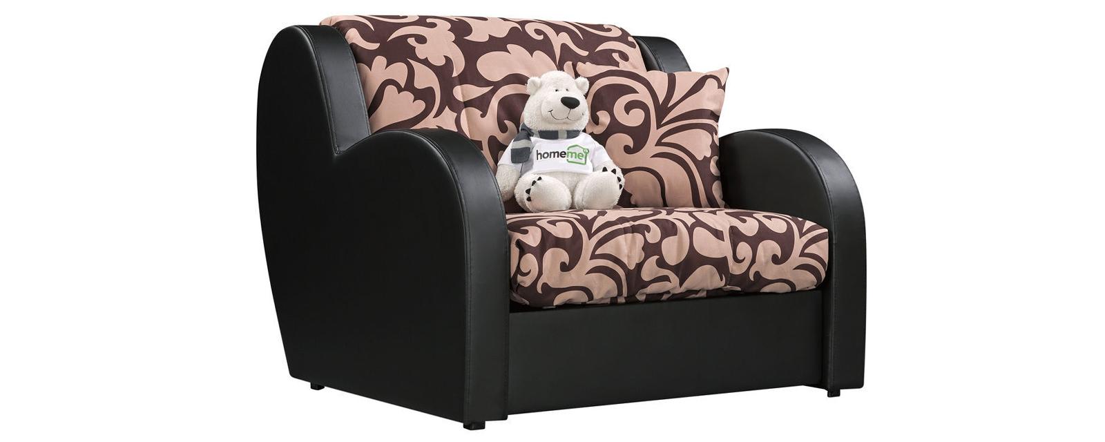 Кресло тканевое Барон Fandy коричневый (Микровелюр + Экокожа)