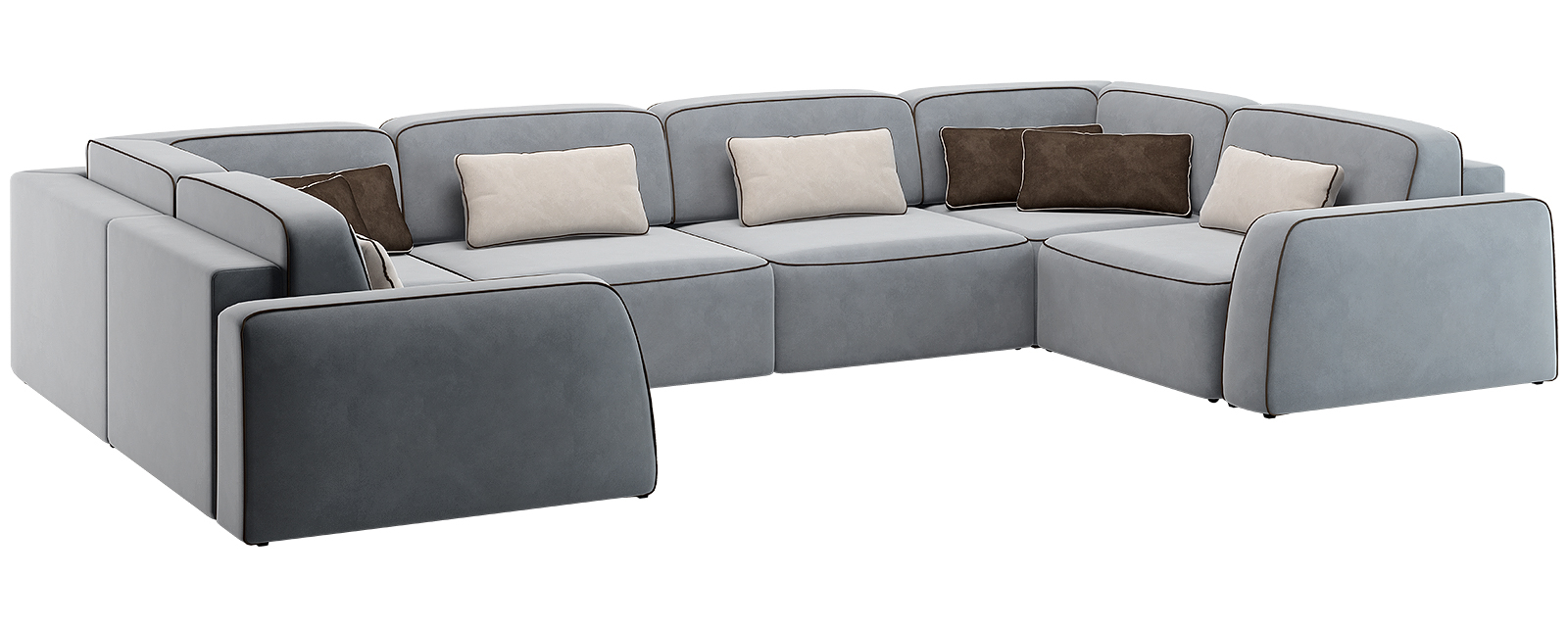 Модульный диван Портленд П-образный Вариант №4 Velutto серый (Велюр)