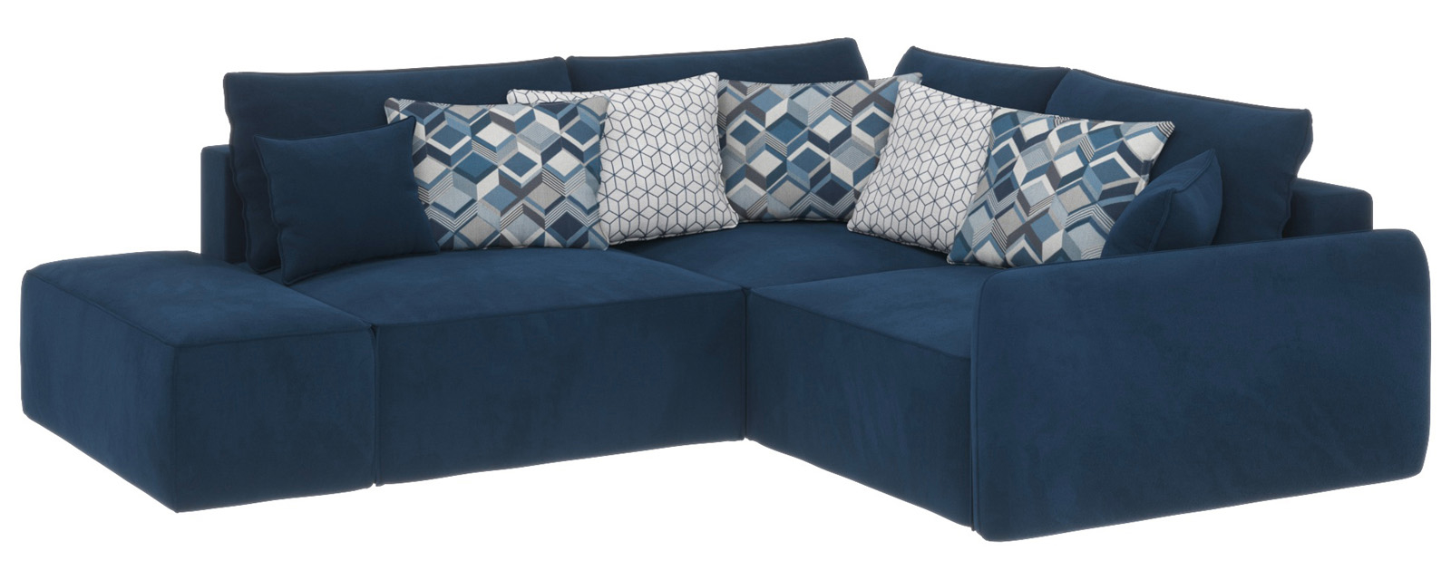 Купить Модульный диван Портленд вариант №1 Soft тёмно-синий (Вел-флок, правый), HomeMe, Тёмно-синий