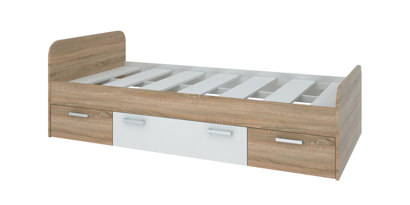 Кровать односпальная 190х90 Лакки без подъемного механизма (дуб сонома/белый)
