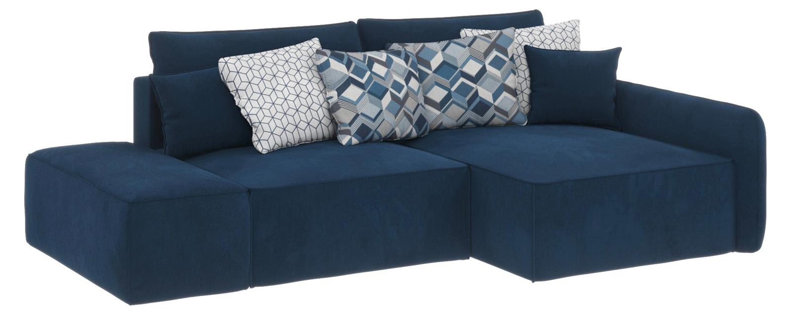 Купить Модульный диван Портленд вариант №3 Soft тёмно-синий (Вел-флок, правый), HomeMe, Тёмно-синий