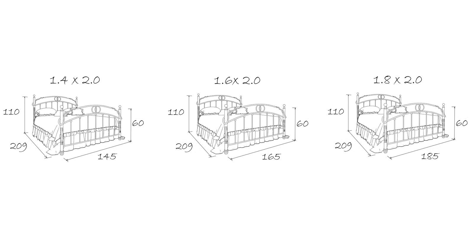 Металлическая кровать 160х200 Симона с ортопедическим основанием (белый с золотом) S013/1-6