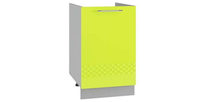 Кухонный напольный шкаф Тиара 50 см под мойку (серый/лайм глянец, правый)