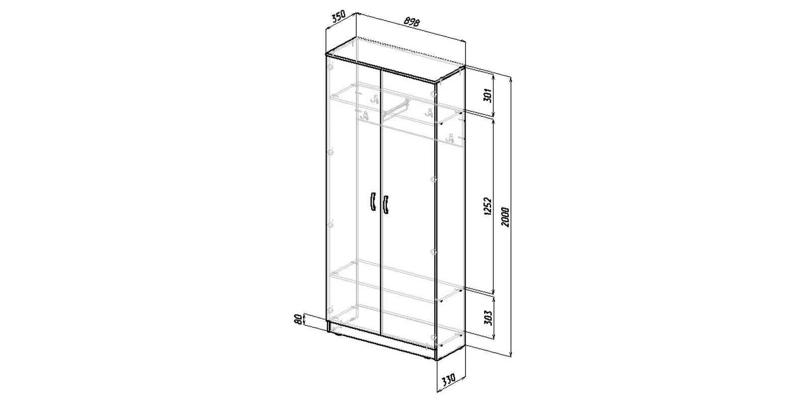 Шкаф распашной двухдверный Хельга вариант №2 (дуб сонома)