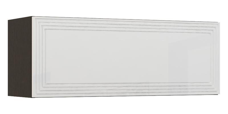 Шкаф навесной Верона Люкс 90 см вариант №2 (венге\белый глянец)