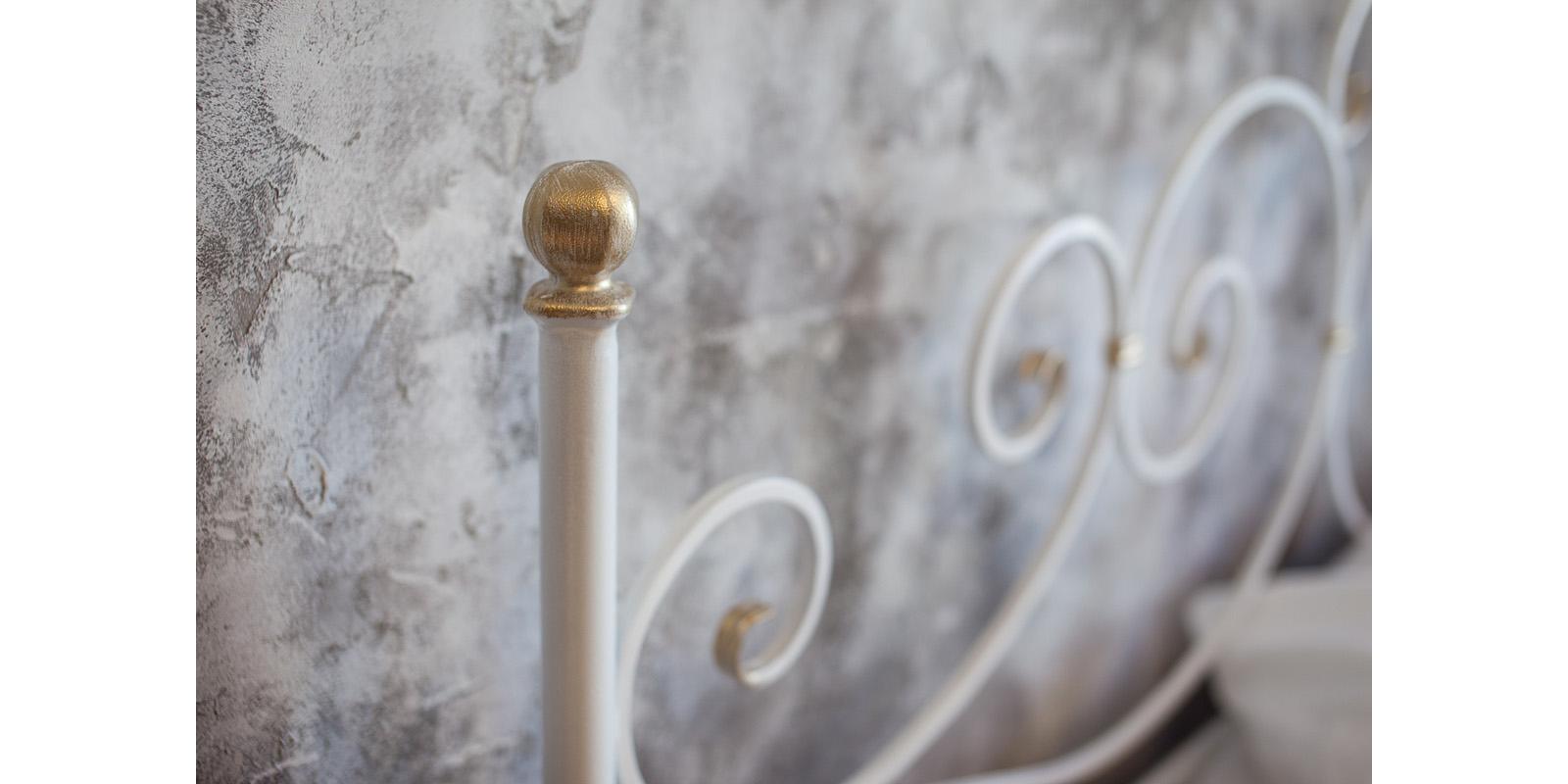 Металлическая кровать 180х200 Флоренция с ортопедическим основанием (белый с золотом) S014/1-8