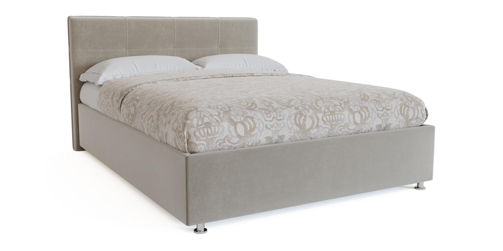 Мягкая кровать 200х160 Неаполь с подъемным механизмом (Светло-серый)