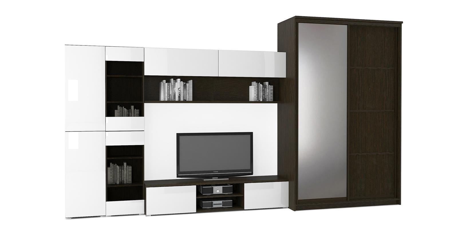 Модульная система Верона вариант №8 (венге/белый глянец) от HomeMe.ru