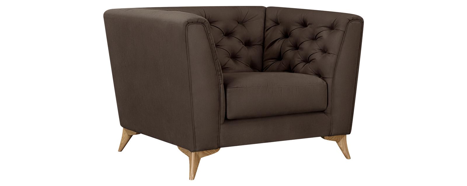 Кресло тканевое Честер Fulton тёмно-коричневый (Искусственная замша)