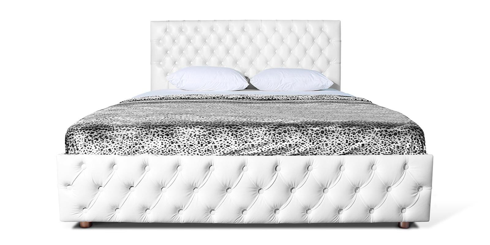 Мягкая кровать 200х160 Малибу вариант №4 с подъемным механизмом (Белый)