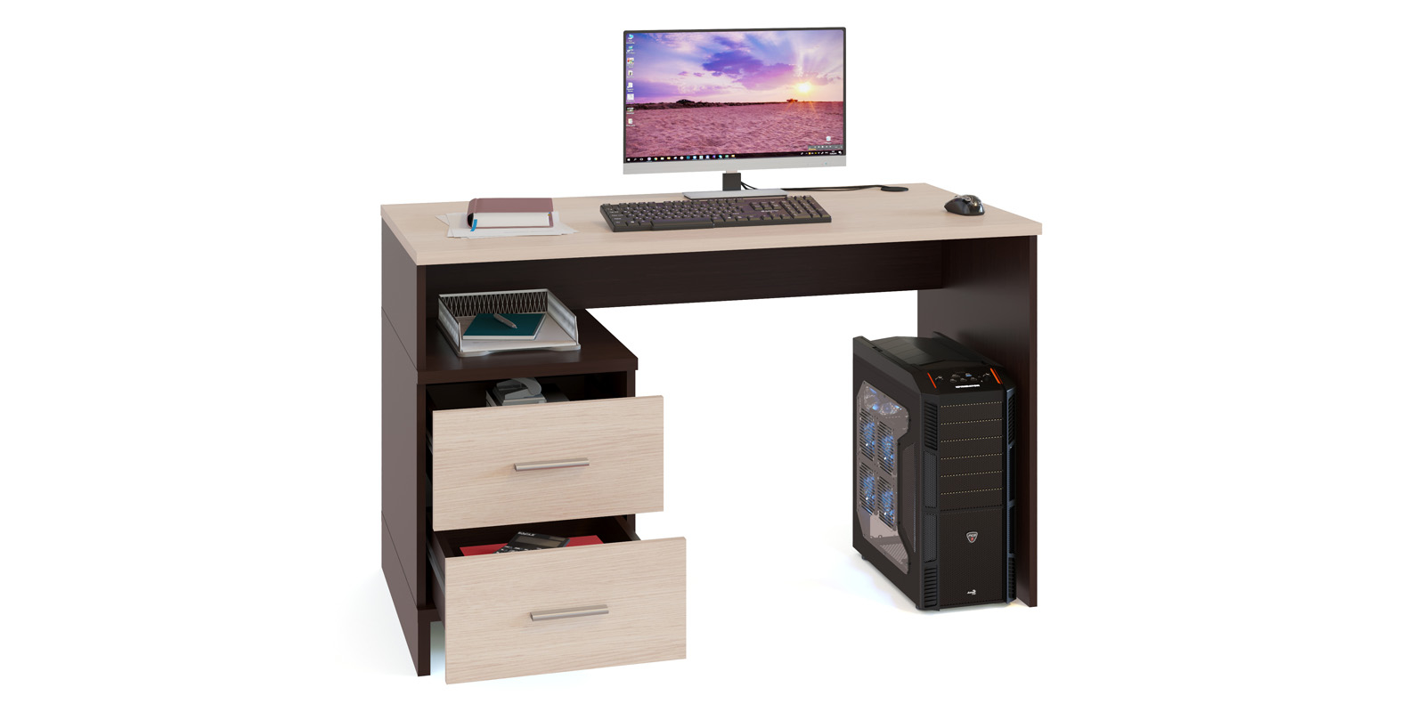 Стол компьютерный Кросби (венге/беленый дуб)