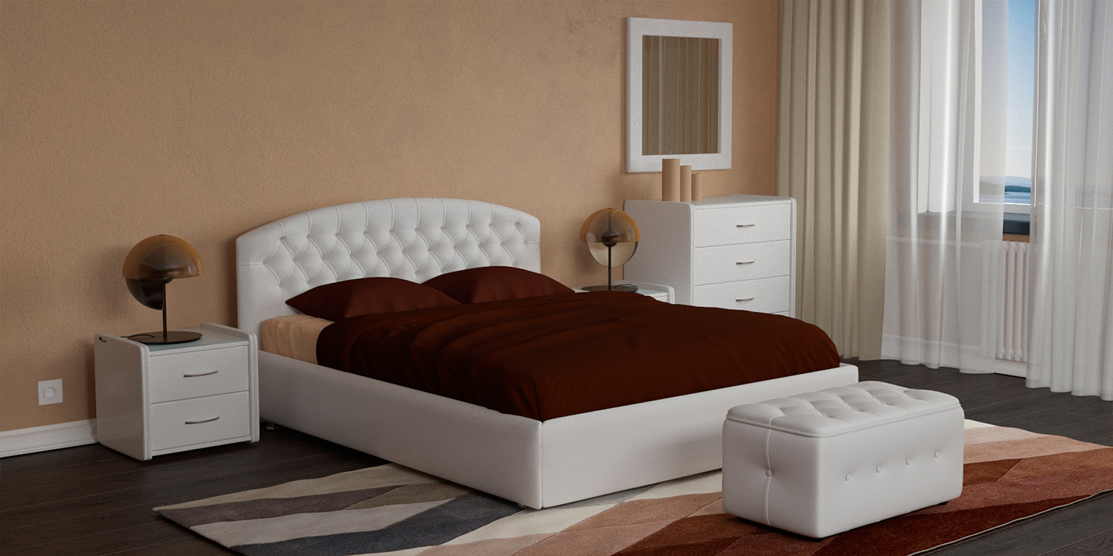 Купить Мягкая кровать 200х160 Малибу вариант №1 с ортопедическим основанием (Белый), HomeMe