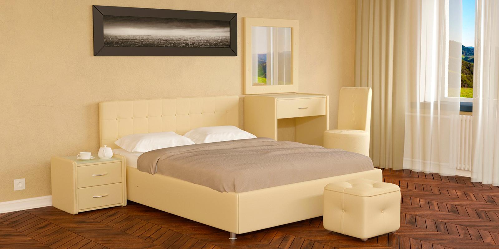 Купить Мягкая кровать 200х160 Малибу вариант №5 с ортопедическим основанием (Бежевый), HomeMe