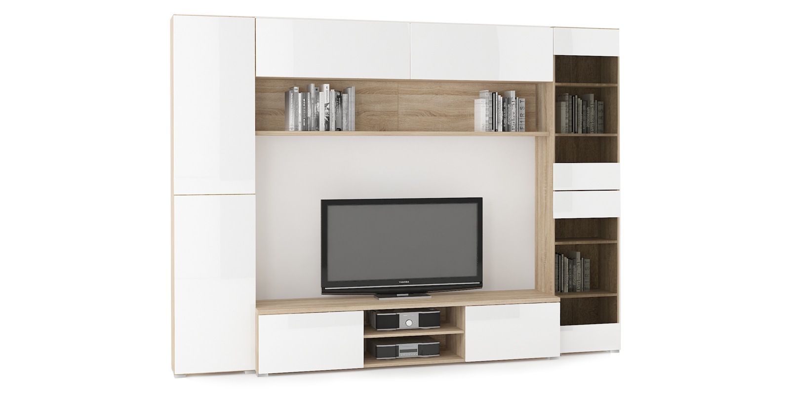 Модульная система Верона вариант №6 (дуб сонома/белый глянец) от HomeMe.ru