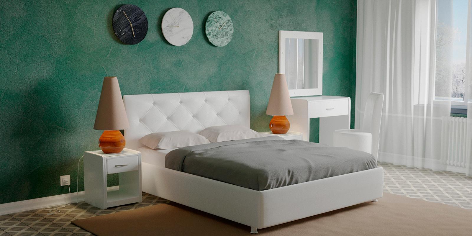Мягкая кровать 200х160 Малибу вариант №2 с ортопедическим основанием (Белый)