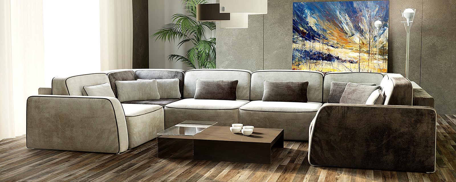 Модульный диван Портленд П-образный Вариант №1 Velure бежевый/темно-коричневый (Велюр) от HomeMe.ru