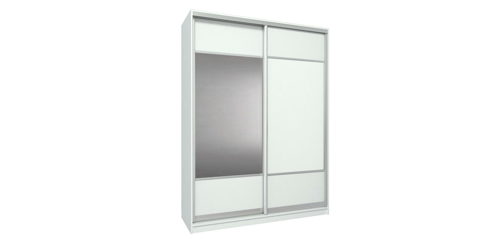 Шкаф-купе двухдверный Бостон 160 см (белый+зеркало)