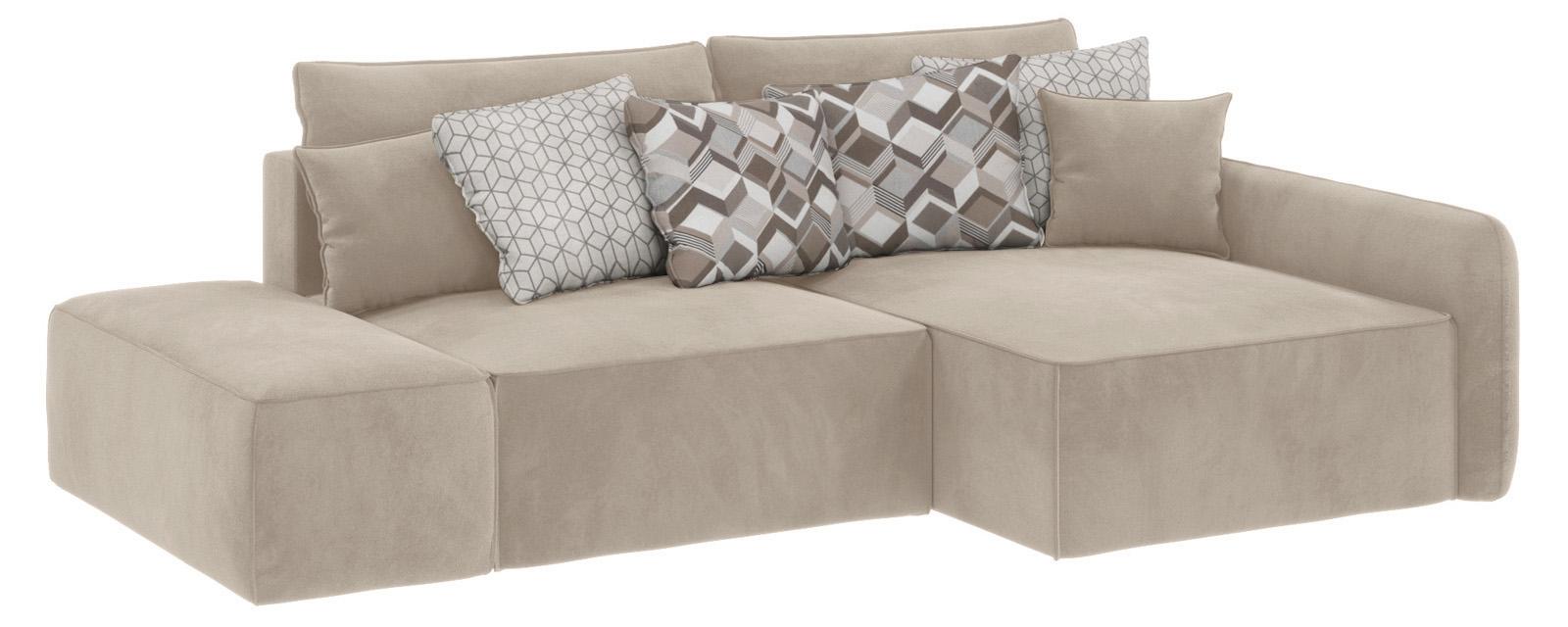 Модульный диван Портленд вариант №3 Soft светло-бежевый (Вел-флок, правый)