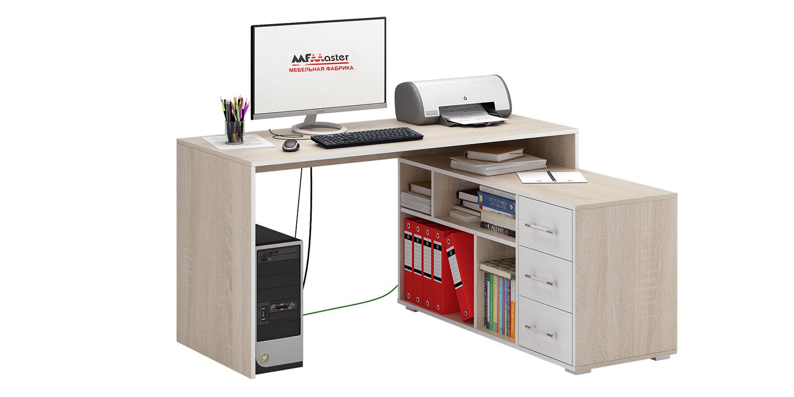 Стол компьютерный Старк правый угол вариант №2 (дуб сонома/белый)